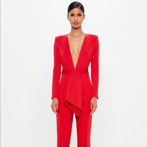 Peace + Love Red Jersey Wrap Bodysuit